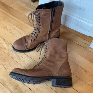 Steve Madden Brown Leather Troopa Combat Boot
